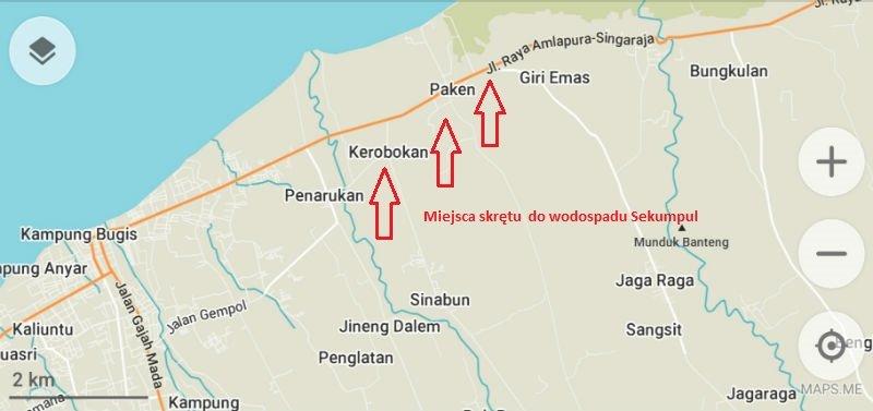 mapa dojazdu do wodospad Sekumpul