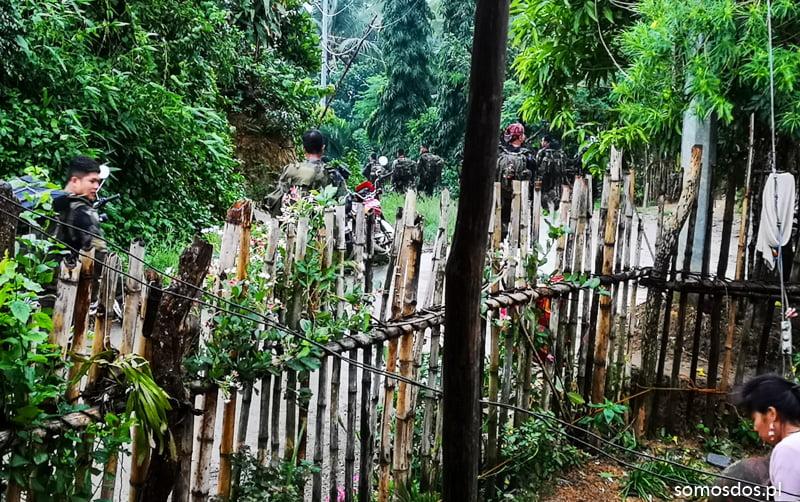 mangyan's village, military troops